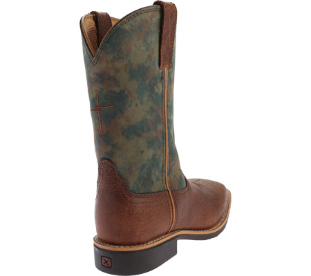 Children's Twisted X YCW0009 Cowkid's Work Boot, Peanut Distressed/TX Camo Leather, large, image 4