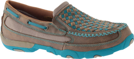 Women's Twisted X WDMS006 Driving Moc, Bomber/Turquoise Leather, large, image 1