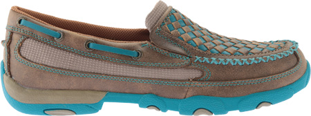 Women's Twisted X WDMS006 Driving Moc, Bomber/Turquoise Leather, large, image 2
