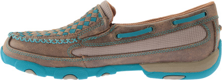 Women's Twisted X WDMS006 Driving Moc, Bomber/Turquoise Leather, large, image 3