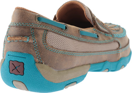 Women's Twisted X WDMS006 Driving Moc, Bomber/Turquoise Leather, large, image 4