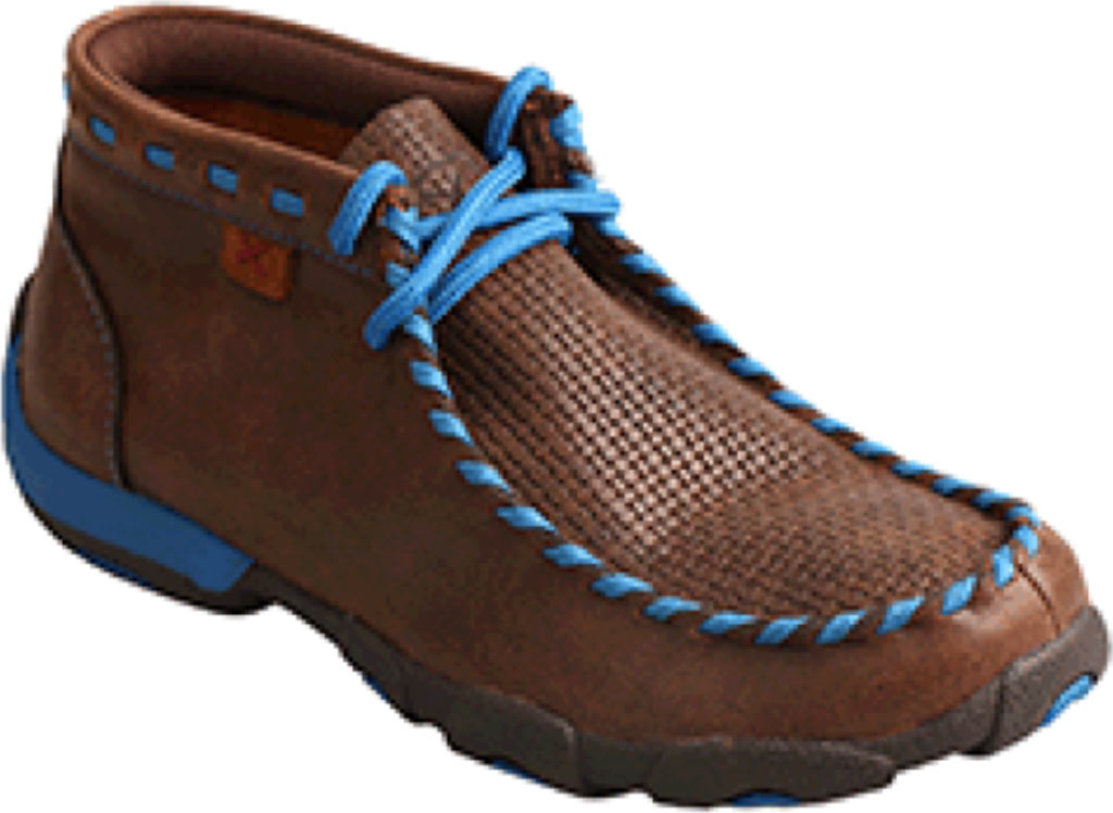 Children's Twisted X YDM0027 Driving Moc, Brown/Blue Leather, large, image 1
