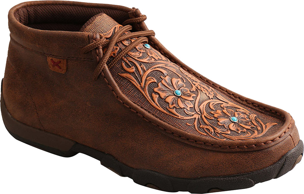 Women's Twisted X WDM0081 Driving Moc Chukka Boot, Brown/Tooled Flowers Leather, large, image 1