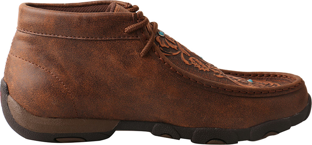 Women's Twisted X WDM0081 Driving Moc Chukka Boot, Brown/Tooled Flowers Leather, large, image 2