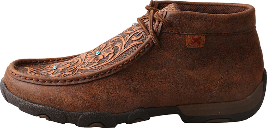 Women's Twisted X WDM0081 Driving Moc Chukka Boot, Brown/Tooled Flowers Leather, large, image 3