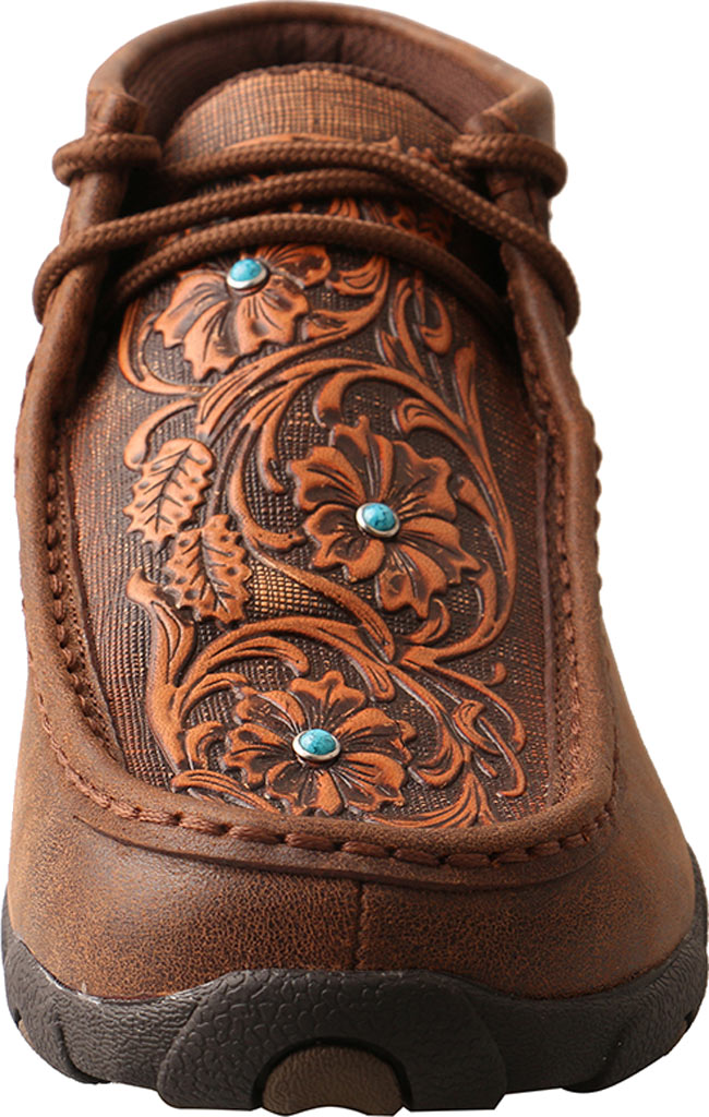 Women's Twisted X WDM0081 Driving Moc Chukka Boot, Brown/Tooled Flowers Leather, large, image 4