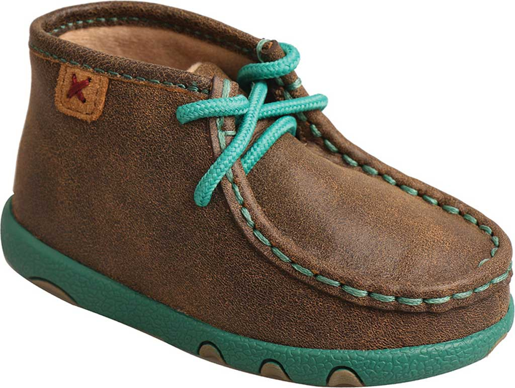 Infant Twisted X ICA0008 Driving Moccasin, Bomber/Turquoise Leather, large, image 1