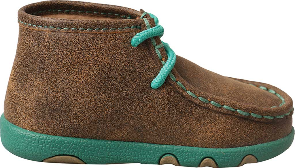 Infant Twisted X ICA0008 Driving Moccasin, Bomber/Turquoise Leather, large, image 2