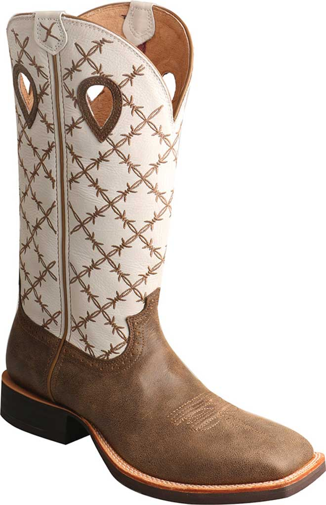 Men's Twisted X MRS0056 Ruff Stock Cowboy Boot, Bomber/White Leather, large, image 1