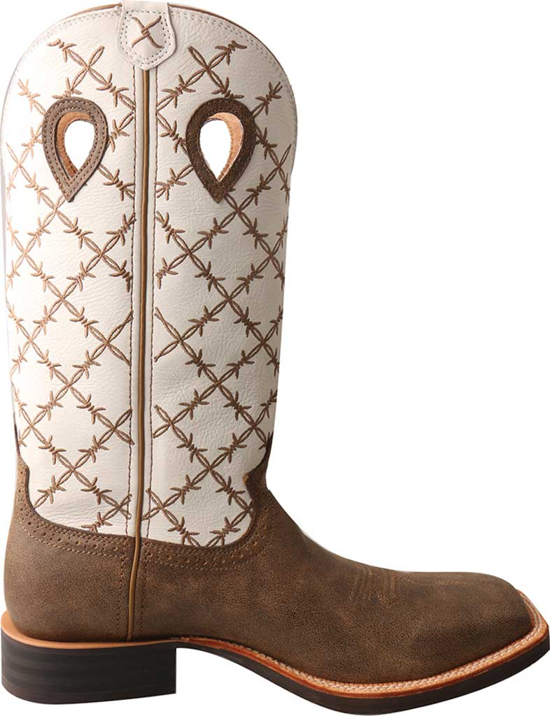 Men's Twisted X MRS0056 Ruff Stock Cowboy Boot, Bomber/White Leather, large, image 2
