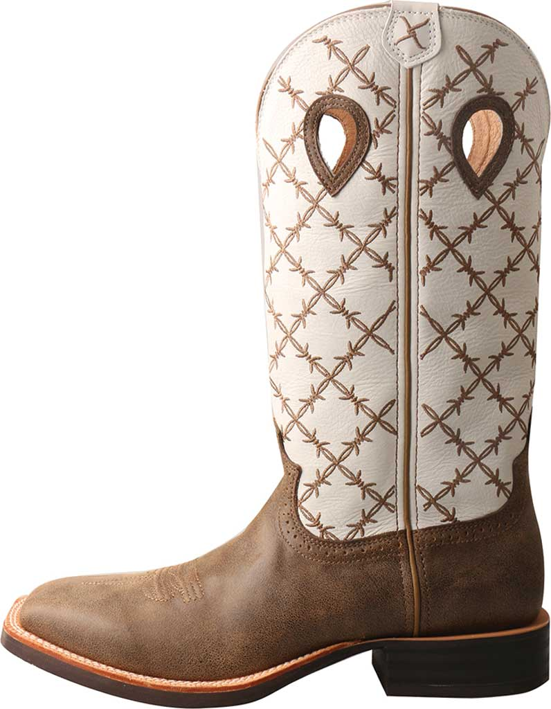 Men's Twisted X MRS0056 Ruff Stock Cowboy Boot, Bomber/White Leather, large, image 3