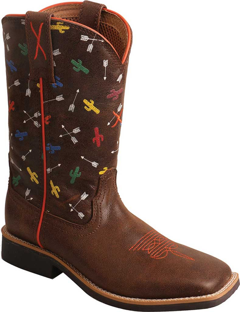 Children's Twisted X YTH0011 Top Hand Cowboy Boot, Brown/Arrow Cactus Leather, large, image 1