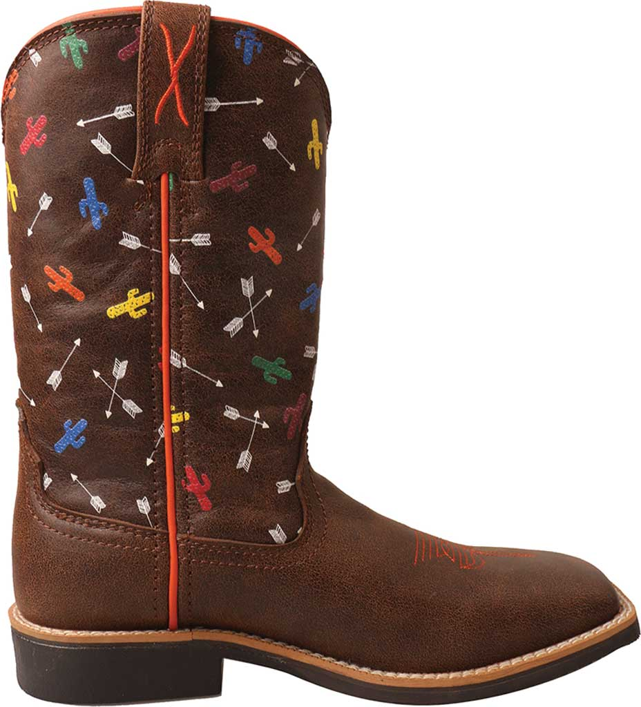 Children's Twisted X YTH0011 Top Hand Cowboy Boot, Brown/Arrow Cactus Leather, large, image 2