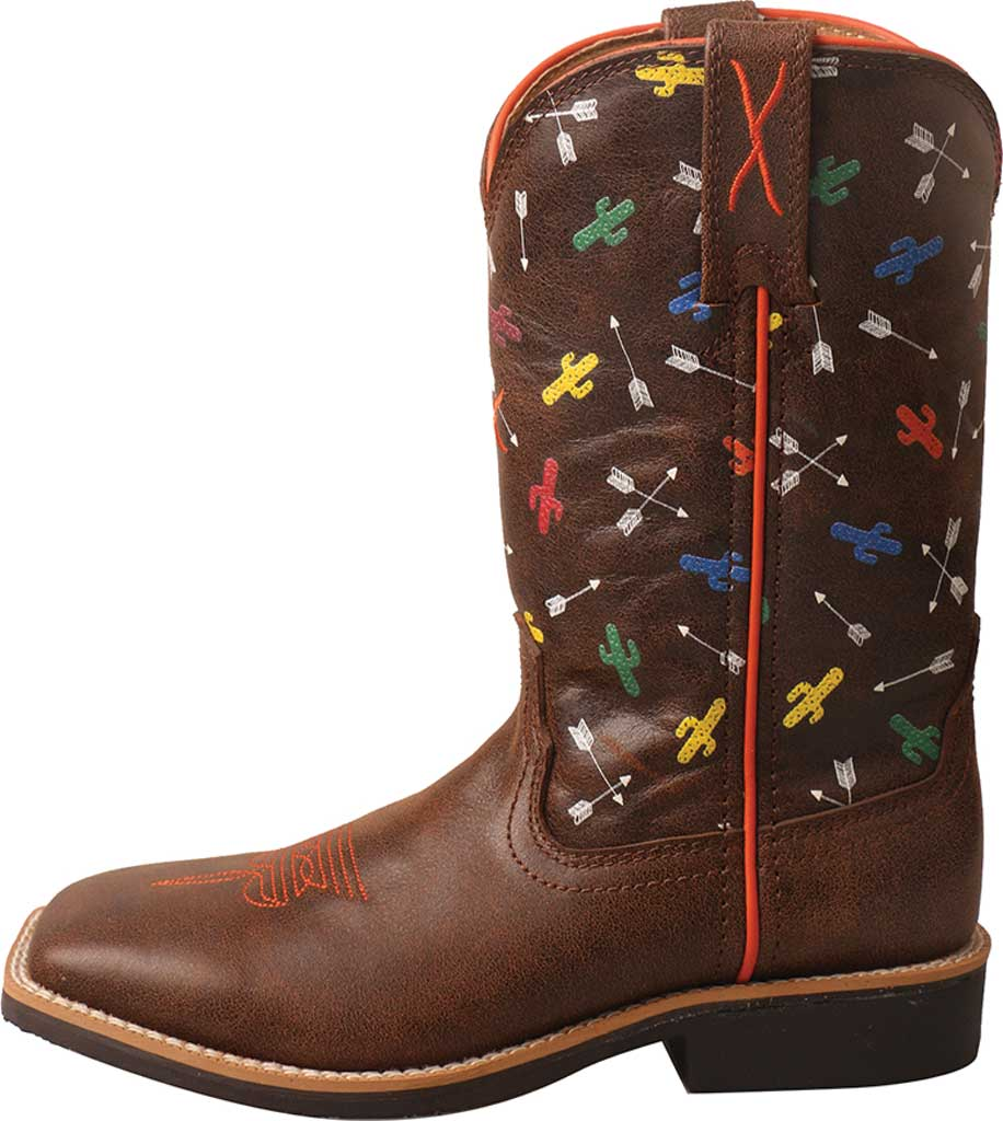 Children's Twisted X YTH0011 Top Hand Cowboy Boot, Brown/Arrow Cactus Leather, large, image 3