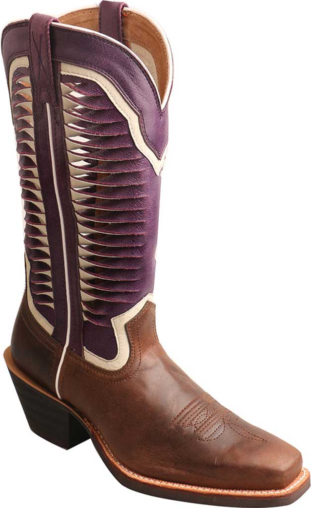 Women's Twisted X WRS0027 Ruff Stock Cowgirl Boot, Brown/Violet Leather, large, image 1