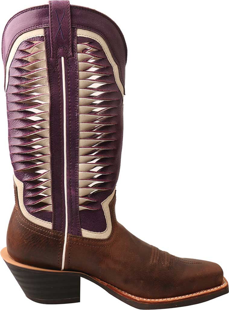 Women's Twisted X WRS0027 Ruff Stock Cowgirl Boot, Brown/Violet Leather, large, image 2