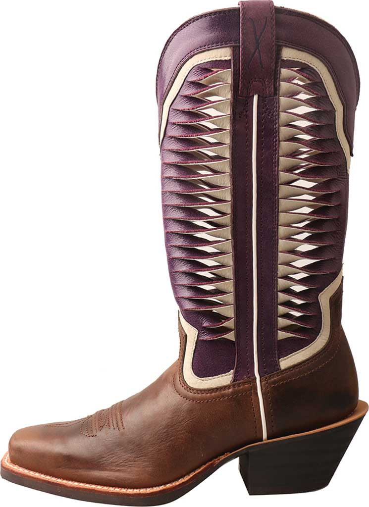 Women's Twisted X WRS0027 Ruff Stock Cowgirl Boot, Brown/Violet Leather, large, image 3