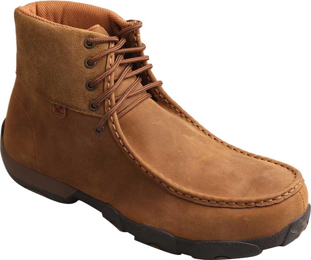 Men's Twisted X MDMAL01 Alloy Toe Driving Moc, Distressed Saddle Leather, large, image 1