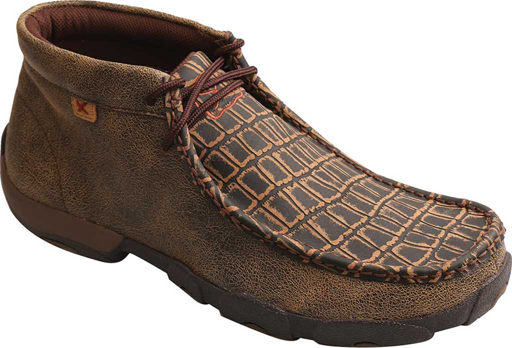Men's Twisted X MDMAL02 Alloy Toe Driving Moc, Cayman Print/Brown Leather, large, image 1