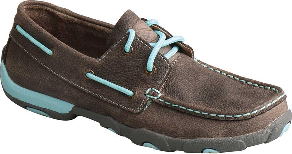 Women's Twisted X WDM0098 Boat Shoe, Grey/Light Blue Leather, large, image 1