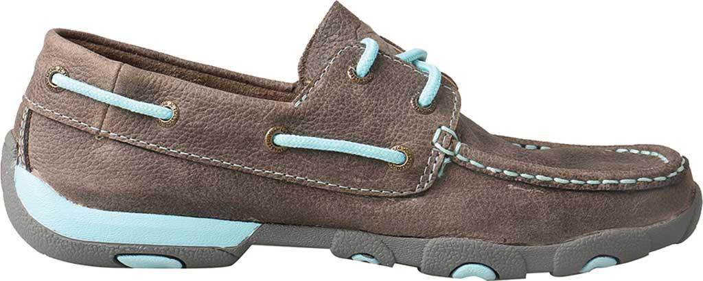 Women's Twisted X WDM0098 Boat Shoe, Grey/Light Blue Leather, large, image 2