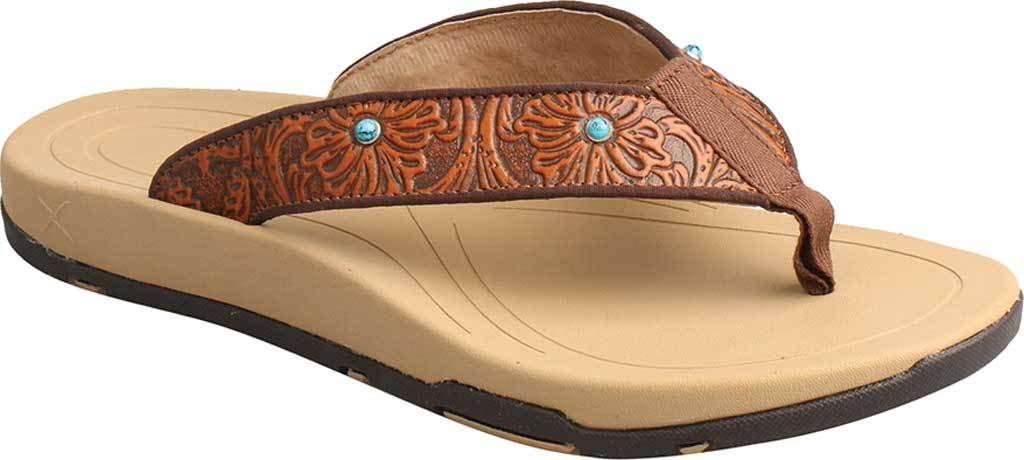 Women's Twisted X WSD0033 Thong Sandal, Tan/Tooled Leather, large, image 1