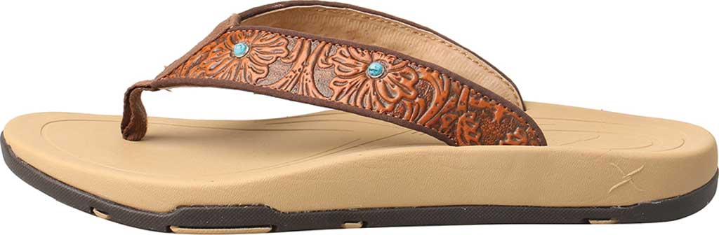Women's Twisted X WSD0033 Thong Sandal, Tan/Tooled Leather, large, image 3
