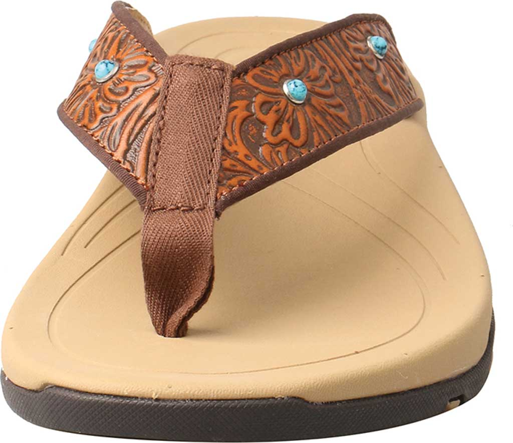 Women's Twisted X WSD0033 Thong Sandal, Tan/Tooled Leather, large, image 4