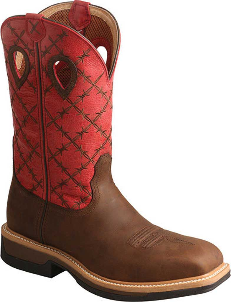 Men's Twisted X MLCA005 Lite Cowboy Alloy Toe Work Boot, Brown/Flash Red Leather, large, image 1
