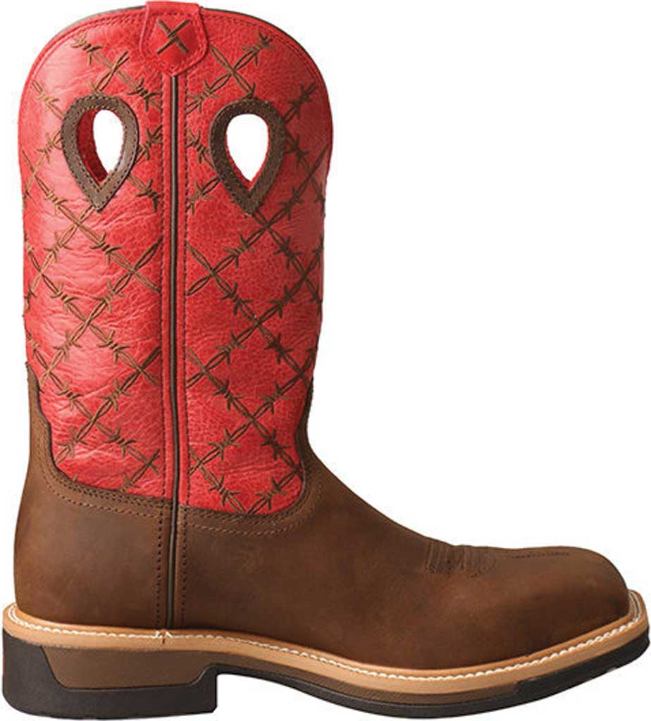 Men's Twisted X MLCA005 Lite Cowboy Alloy Toe Work Boot, Brown/Flash Red Leather, large, image 2