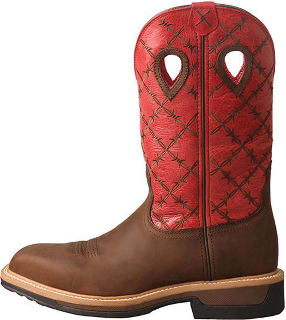 Men's Twisted X MLCA005 Lite Cowboy Alloy Toe Work Boot, Brown/Flash Red Leather, large, image 3