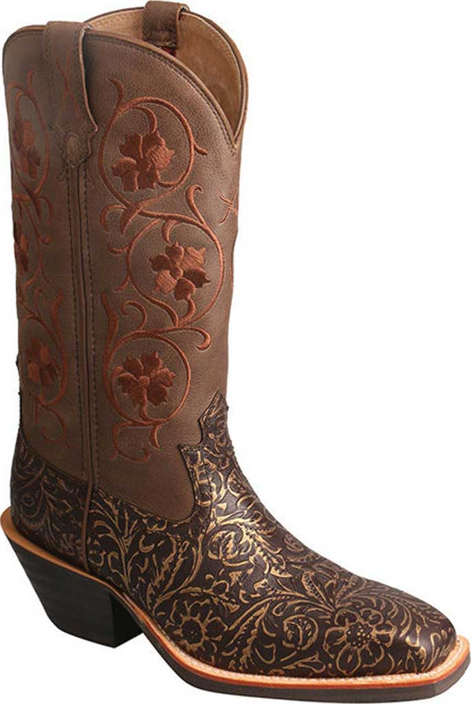Women's Twisted X WRS0028 Ruff Stock Cowgirl Boot, Tooled/Brown Tooled Leather, large, image 1