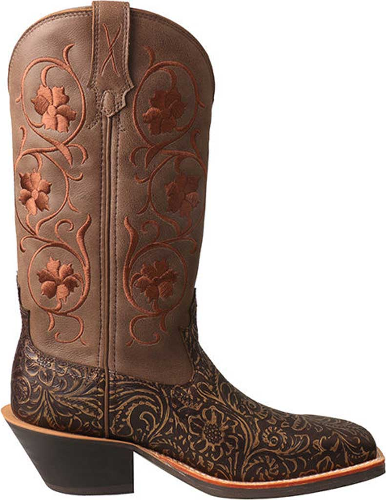 Women's Twisted X WRS0028 Ruff Stock Cowgirl Boot, Tooled/Brown Tooled Leather, large, image 2