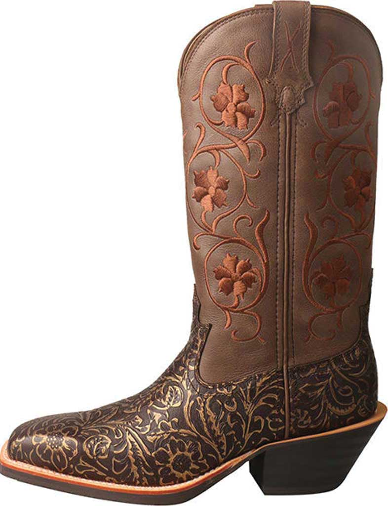 Women's Twisted X WRS0028 Ruff Stock Cowgirl Boot, Tooled/Brown Tooled Leather, large, image 3