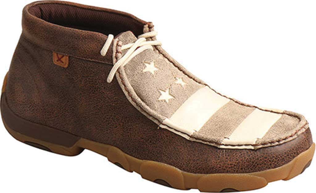 Men's Twisted X MDM0075 Driving Moc Chukkah, Brown/Ivory Leather, large, image 1