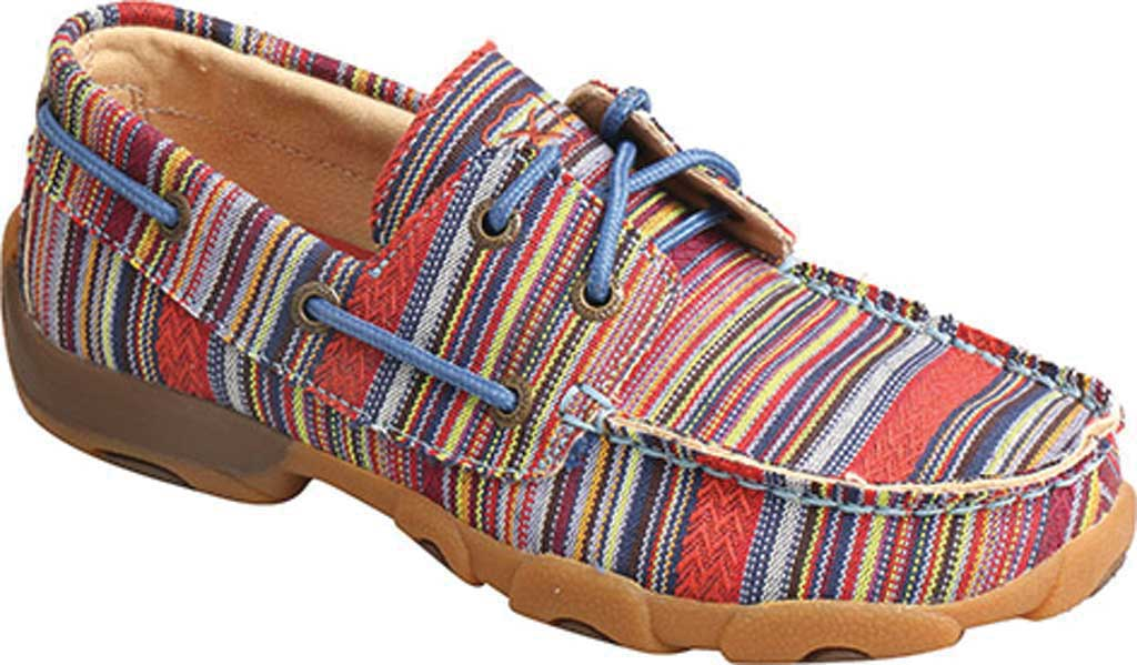 Children's Twisted X YDM0041 Driving Moc Boat Shoe, Multi Stripe Canvas, large, image 1
