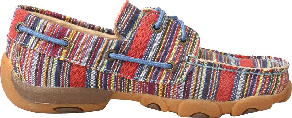 Children's Twisted X YDM0041 Driving Moc Boat Shoe, Multi Stripe Canvas, large, image 2