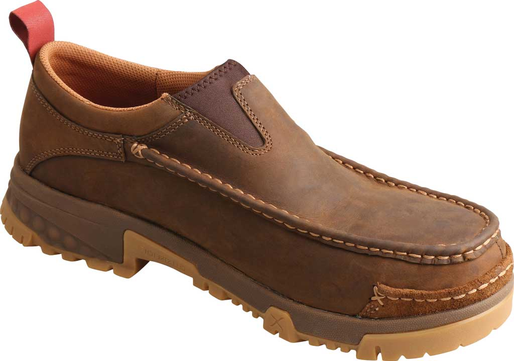 Men's Twisted X MXCC003 CellStretch Composite Toe Work Slip On, Distressed Saddle Full Grain Oiled Leather, large, image 1