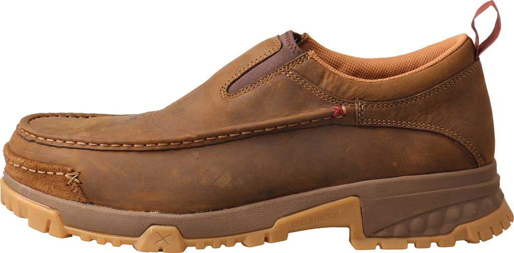 Men's Twisted X MXCC003 CellStretch Composite Toe Work Slip On, Distressed Saddle Full Grain Oiled Leather, large, image 2