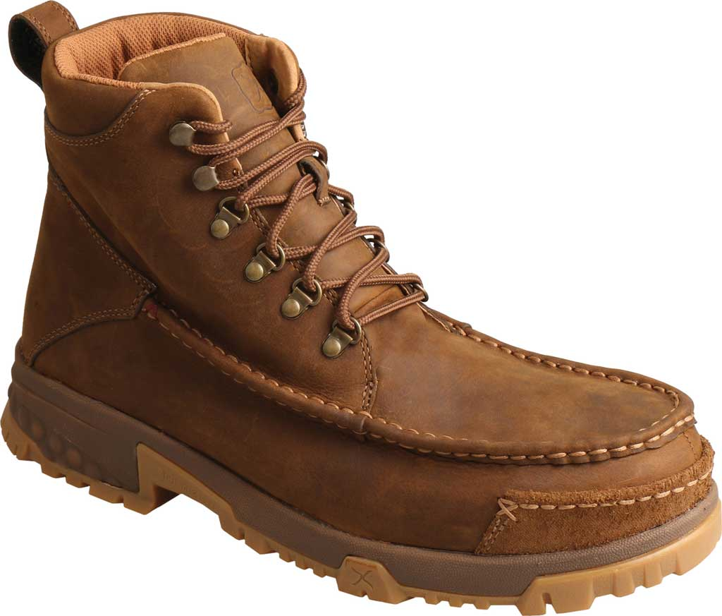 """Men's Twisted X MXCC001 CellStretch 6"""" Composite Toe Work Boot, Distressed Saddle Full Grain Oiled Leather, large, image 1"""