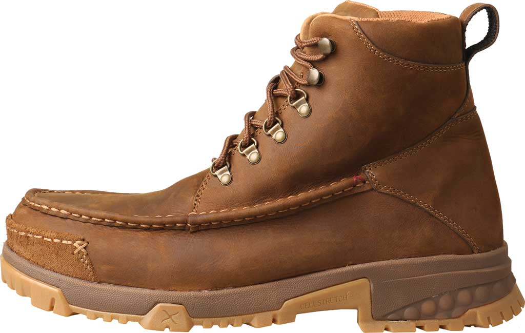 """Men's Twisted X MXCC001 CellStretch 6"""" Composite Toe Work Boot, Distressed Saddle Full Grain Oiled Leather, large, image 2"""