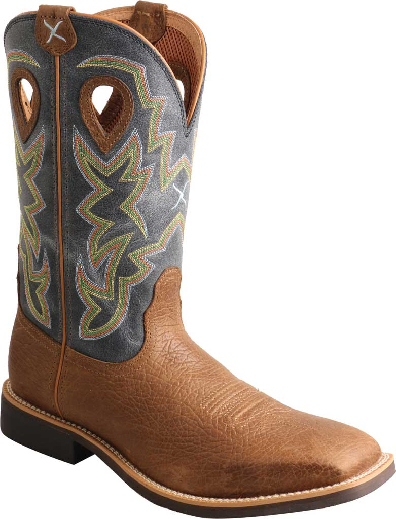 Men's Twisted X MTH0026 Top Hand Cowboy Boot, Peanut Distressed/Navy Leather, large, image 1