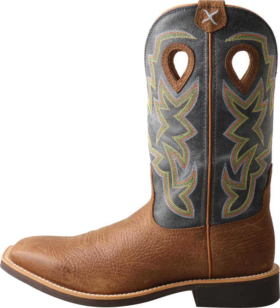 Men's Twisted X MTH0026 Top Hand Cowboy Boot, Peanut Distressed/Navy Leather, large, image 2