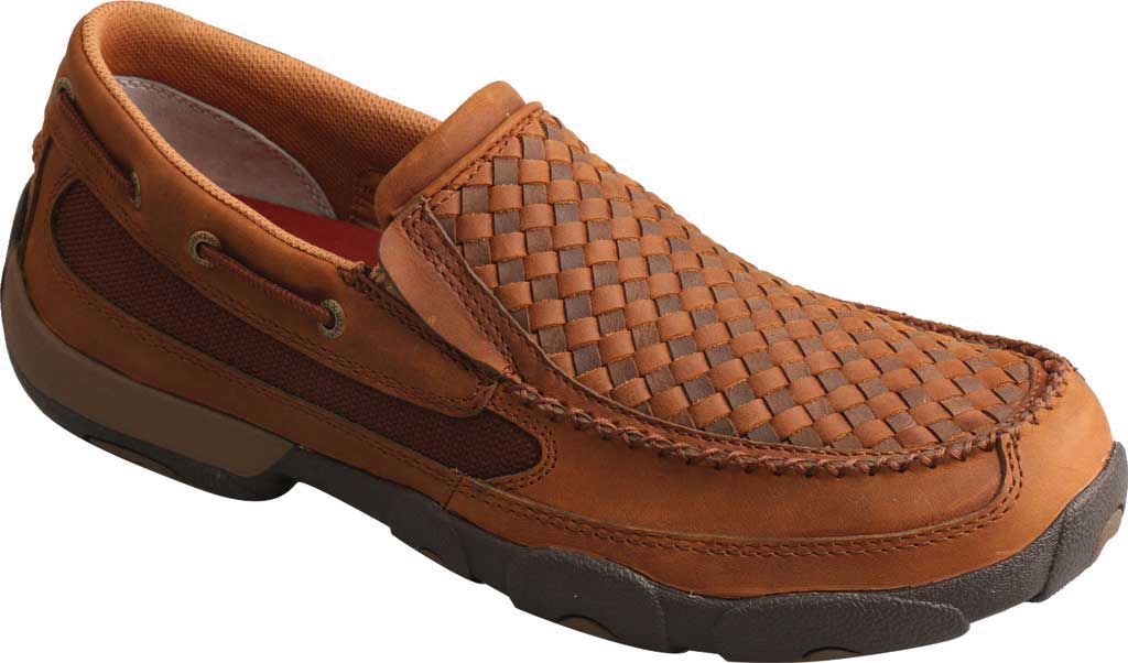 Men's Twisted X MDMS017 Driving Moc, Oiled Saddle/Brown Leather, large, image 1