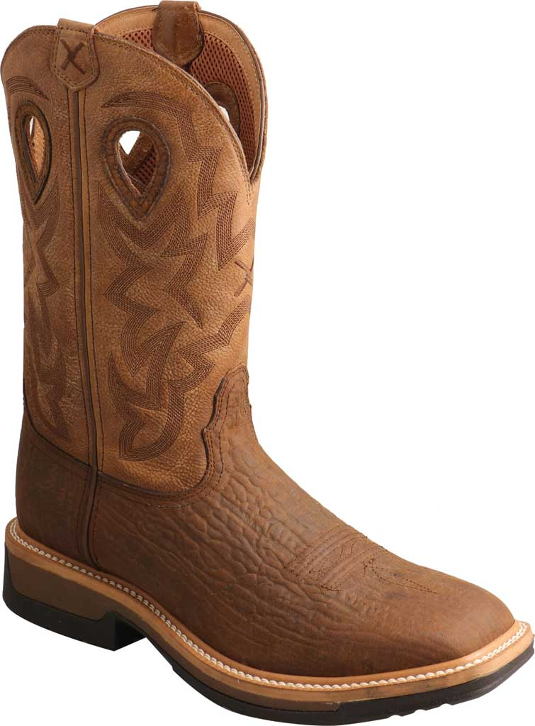 Men's Twisted X MLCWW05 Lite Weight Cowboy Work Boot, Bark Brown/Tan Leather, large, image 1
