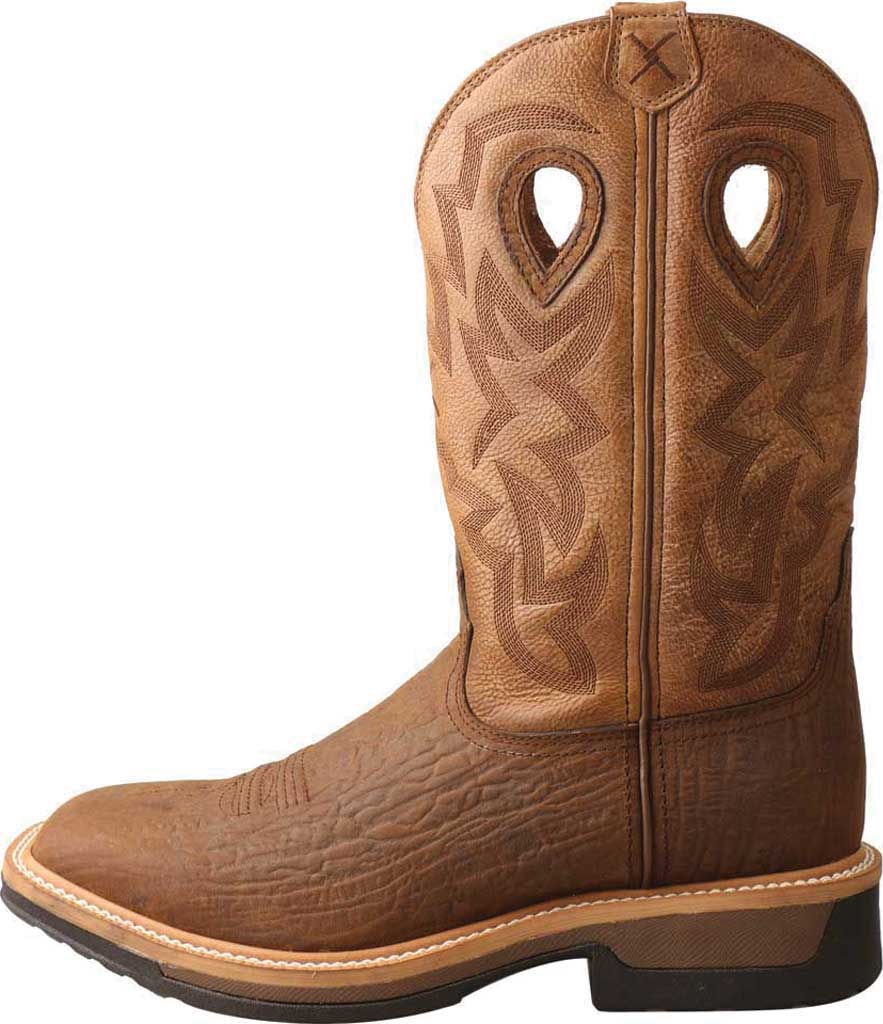 Men's Twisted X MLCWW05 Lite Weight Cowboy Work Boot, Bark Brown/Tan Leather, large, image 2