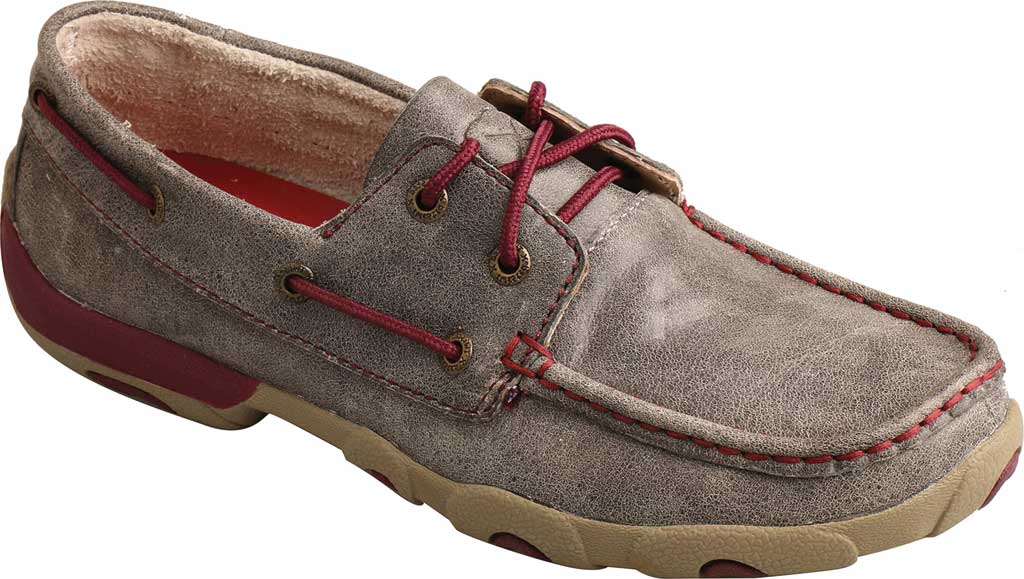 Women's Twisted X WDM0121 Driving Moc, Grey/Berry Leather, large, image 1