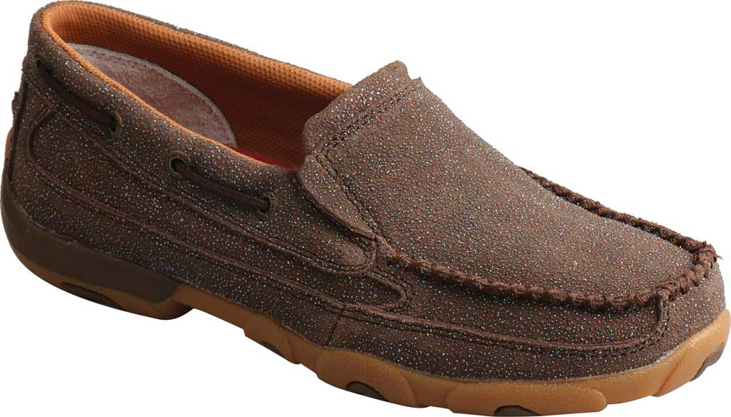 Women's Twisted X WDMS016 Driving Moc Boat Shoe, Chocolate Shimmer Leather, large, image 1