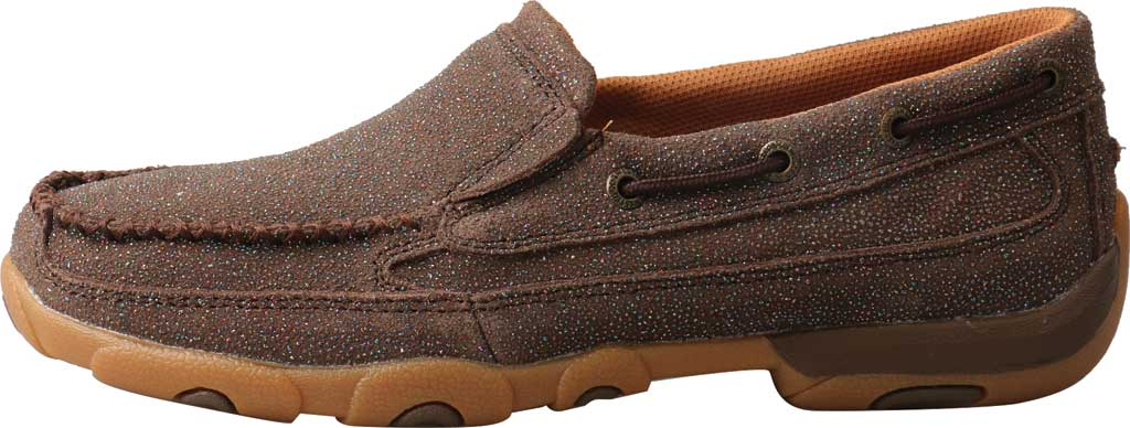 Women's Twisted X WDMS016 Driving Moc Boat Shoe, Chocolate Shimmer Leather, large, image 3