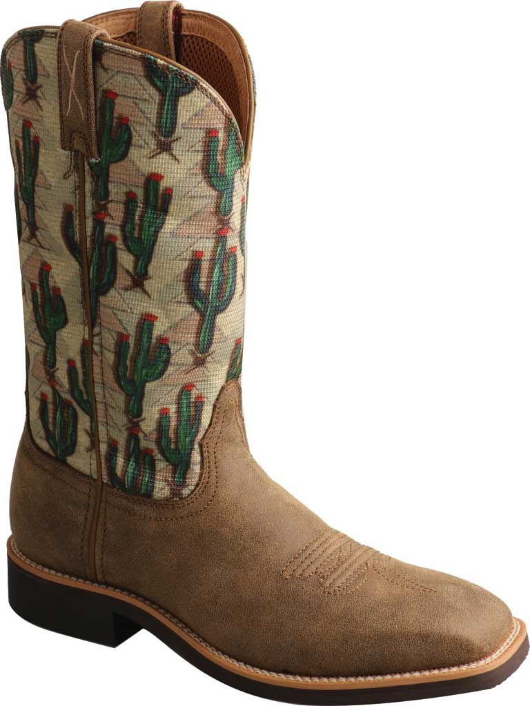 Women's Twisted X WTH0016 Top Hand Cowgirl Boot, Bomber/Cactus Print Leather/Fabric, large, image 1